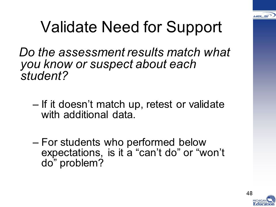 Validate Need for Support