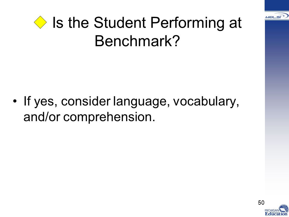  Is the Student Performing at Benchmark