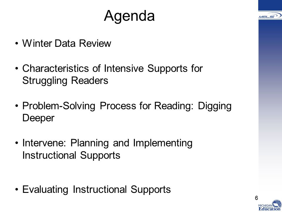 Agenda Winter Data Review