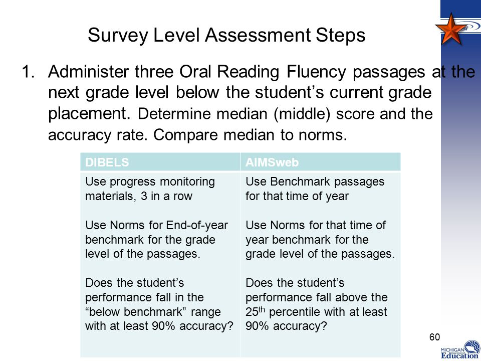 Survey Level Assessment Steps