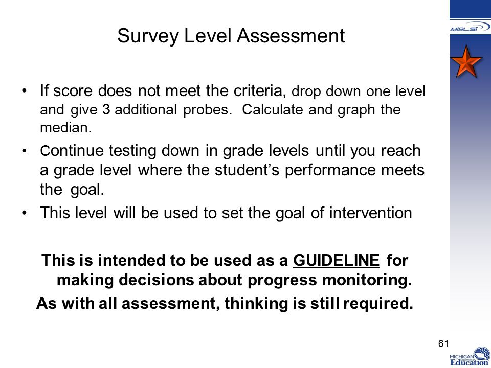 Survey Level Assessment