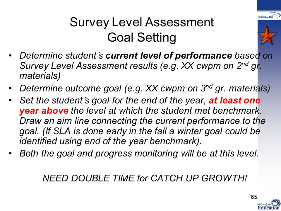 Survey Level Assessment Goal Setting