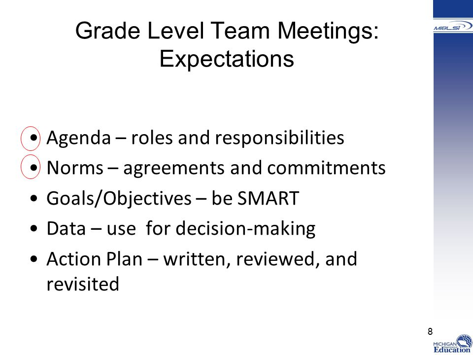 Grade Level Team Meetings: Expectations