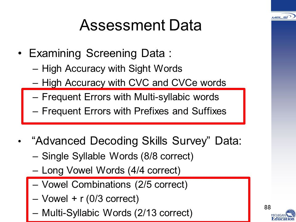 Assessment Data Examining Screening Data :