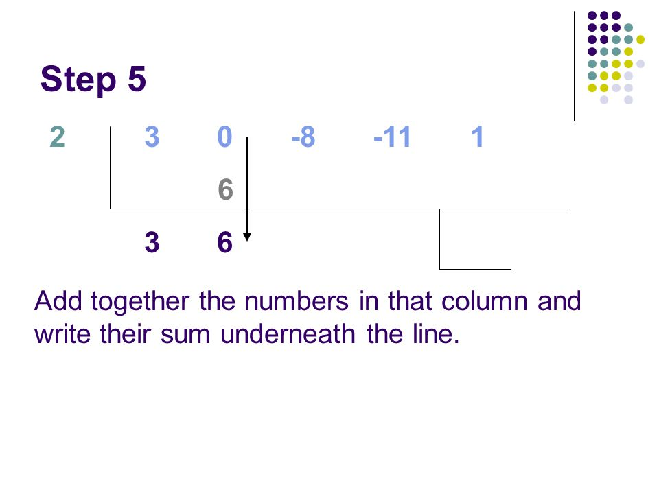 Step 5 2. 3 0 -8 -11 1. 6.