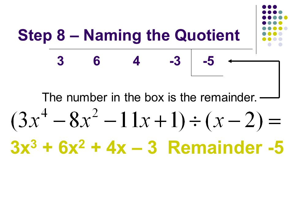 Step 8 – Naming the Quotient