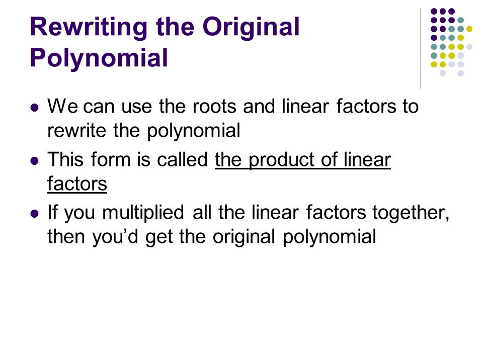 Rewriting the Original Polynomial