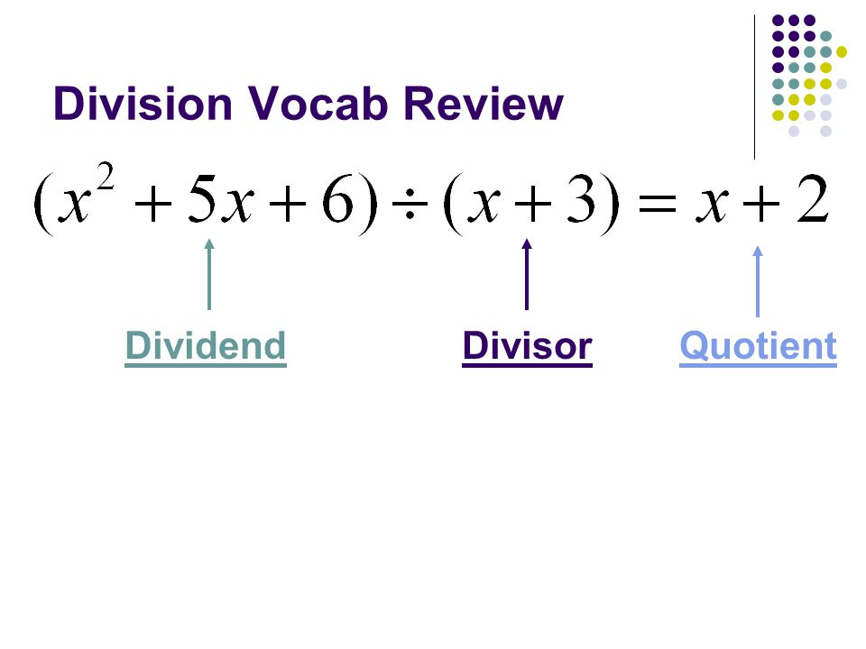 Division Vocab Review Dividend Divisor Quotient