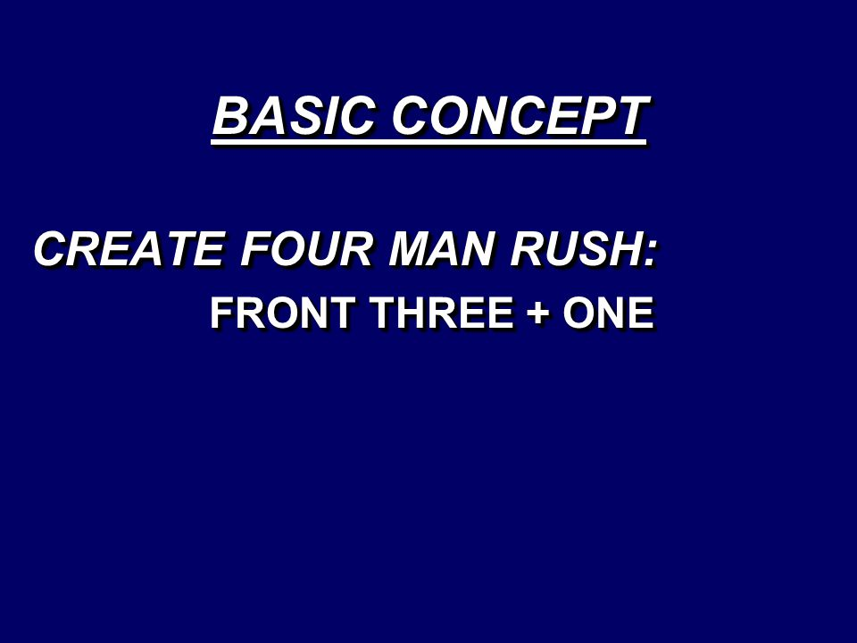 CREATE FOUR MAN RUSH: FRONT THREE + ONE