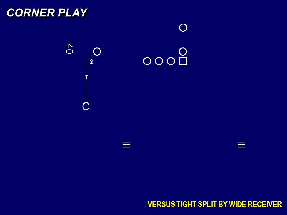 CORNER PLAY 40 2 7 C _ _ _ _ _ _ VERSUS TIGHT SPLIT BY WIDE RECEIVER