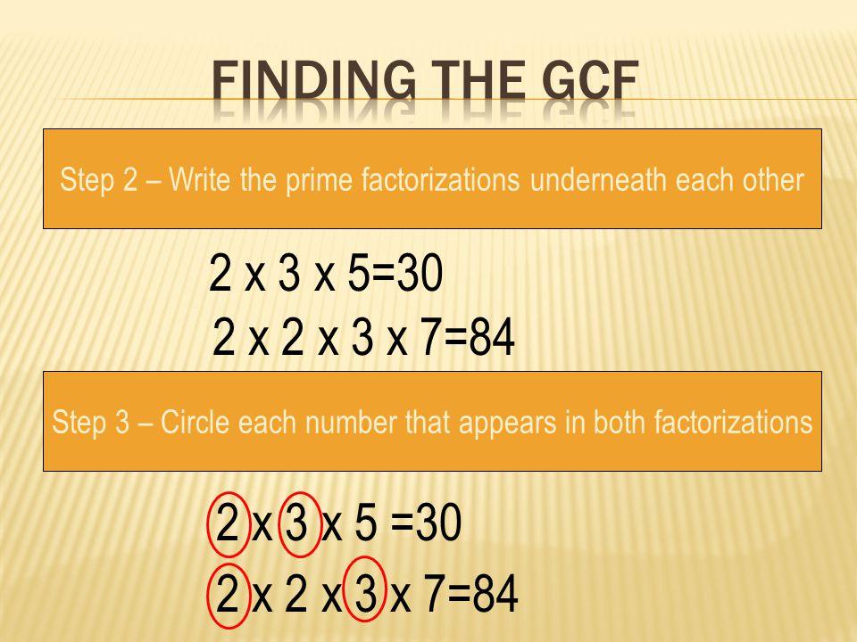 Finding the gcf 2 x 3 x 5=30 2 x 2 x 3 x 7=84 2 x 3 x 5 =30