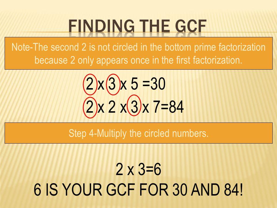 Finding the gcf 2 x 3 x 5 =30 2 x 2 x 3 x 7=84 2 x 3=6