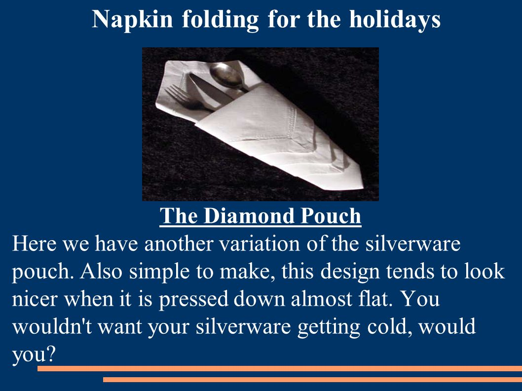 Napkin folding for the holidays