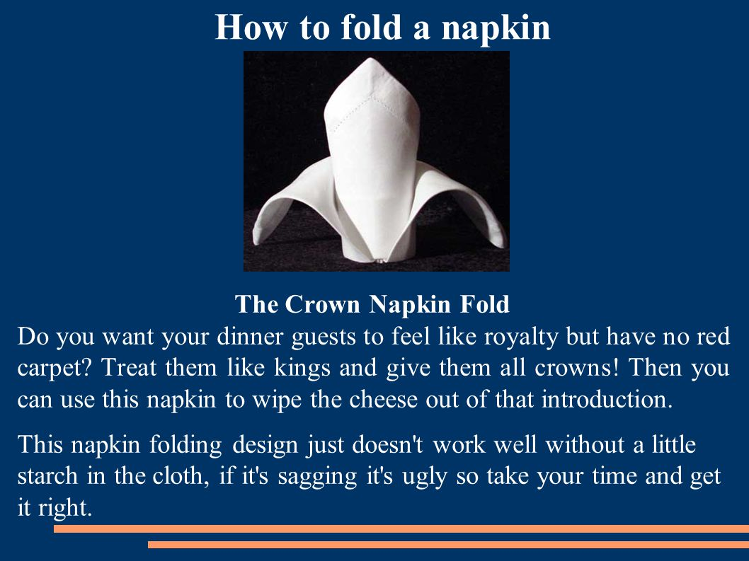 How to fold a napkin The Crown Napkin Fold