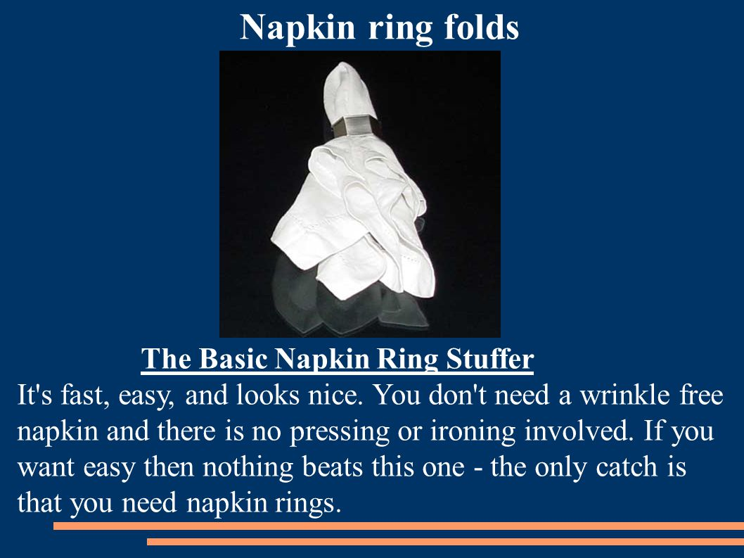 Napkin ring folds The Basic Napkin Ring Stuffer