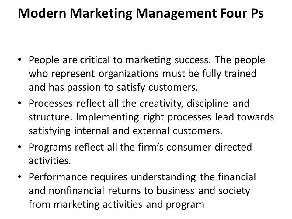 Modern Marketing Management Four Ps