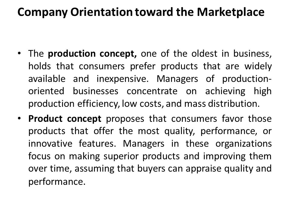 Company Orientation toward the Marketplace