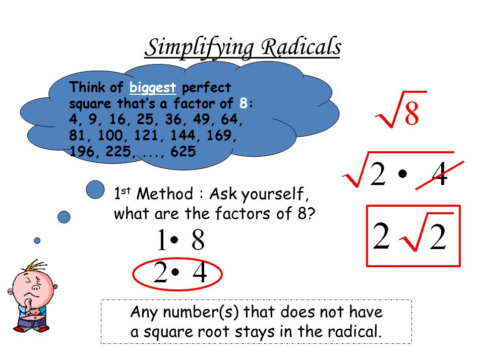 Simplifying Radicals Think of biggest perfect square that's a factor of 8: 4, 9, 16, 25, 36, 49, 64, 81, 100, 121, 144, 169, 196, 225, ..., 625.