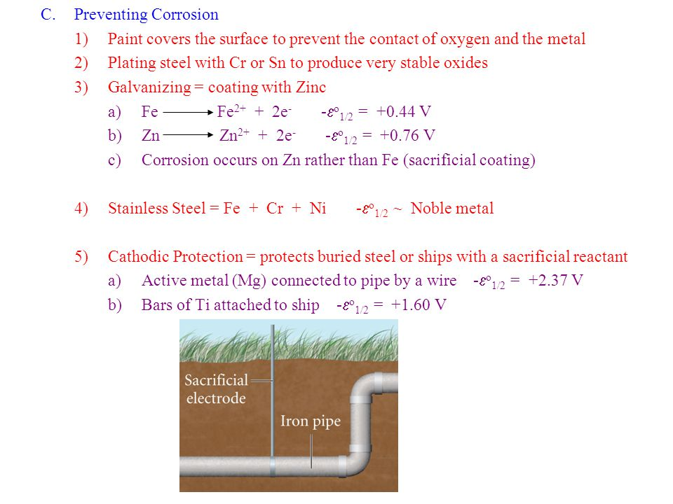 Preventing Corrosion Paint covers the surface to prevent the contact of oxygen and the metal.