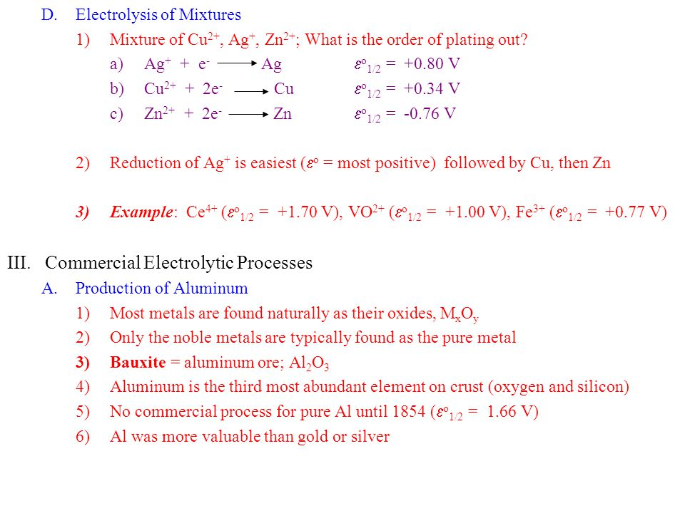 Commercial Electrolytic Processes