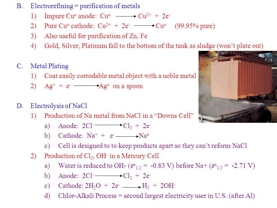 Electrorefining = purification of metals