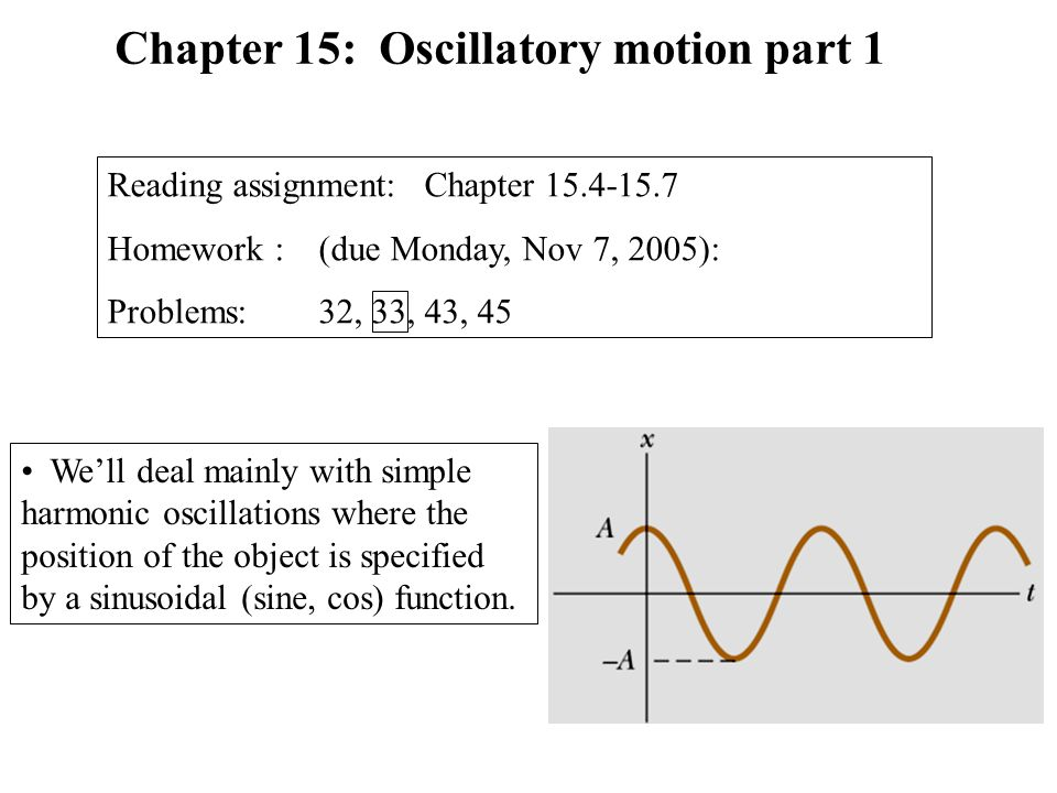 Chapter 15: Oscillatory motion part 1