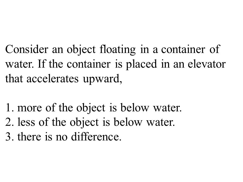 Consider an object floating in a container of