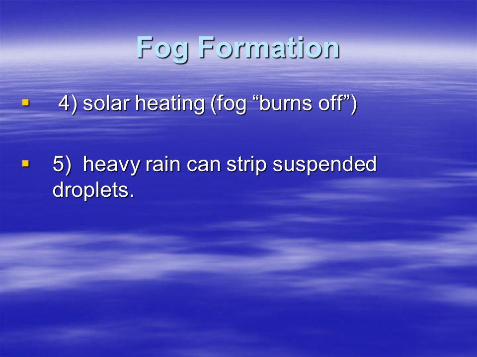 Fog Formation 4) solar heating (fog burns off )