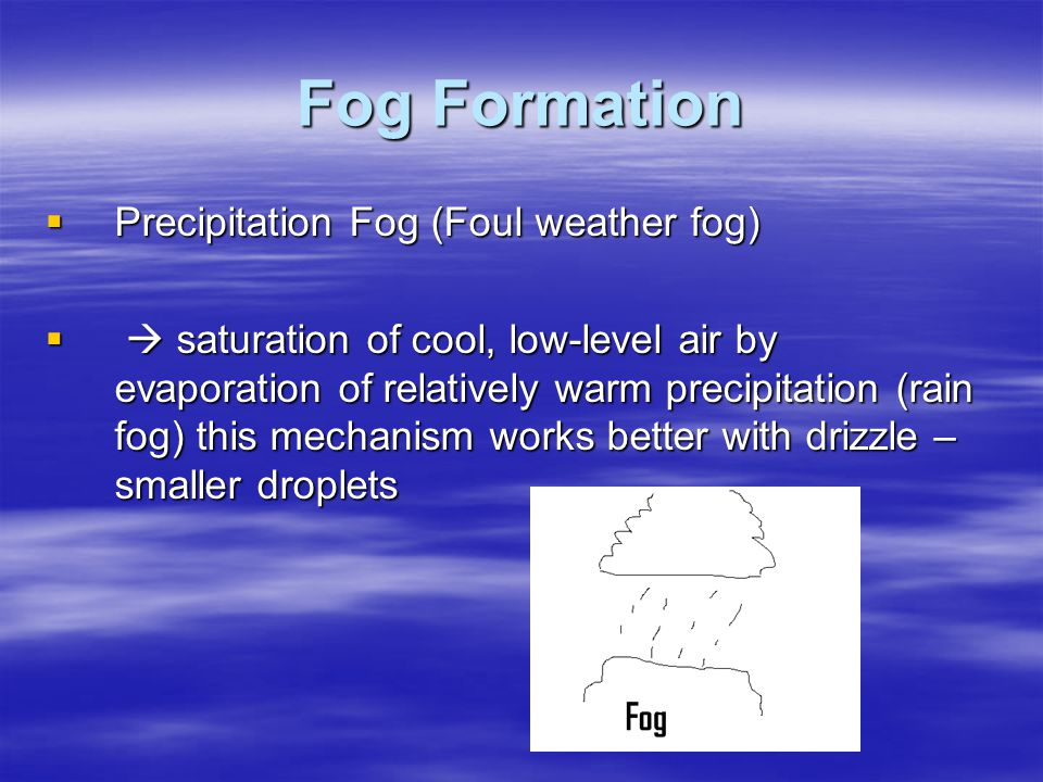 Fog Formation Precipitation Fog (Foul weather fog)