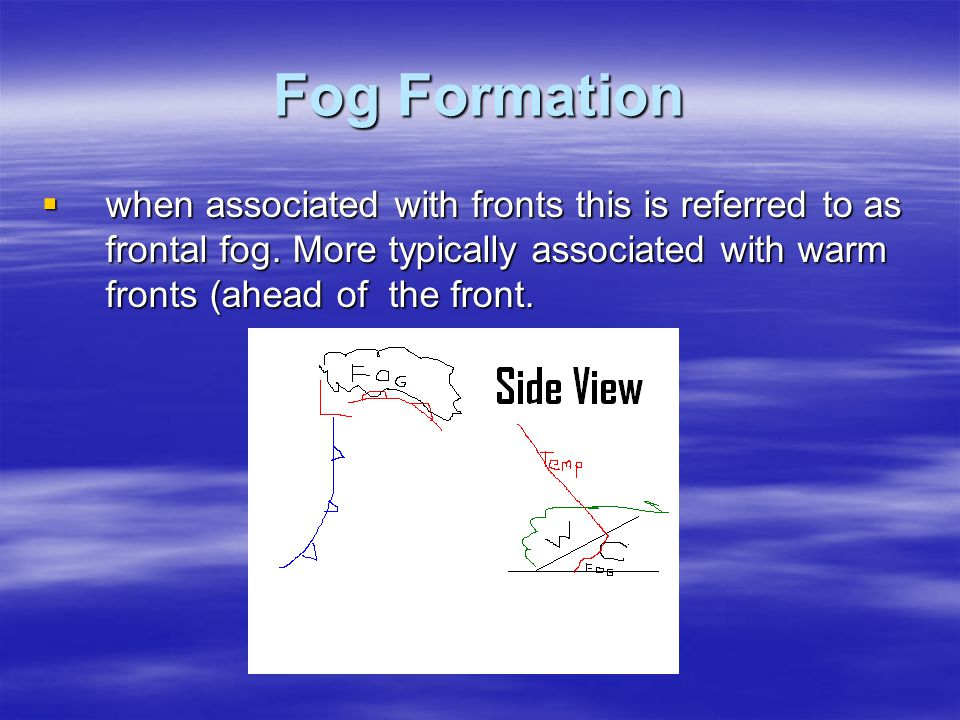 Fog Formation when associated with fronts this is referred to as frontal fog.
