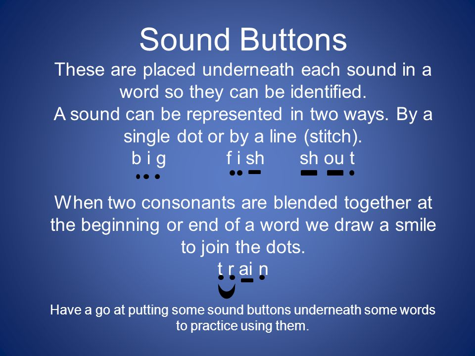 Sound Buttons These are placed underneath each sound in a word so they can be identified.