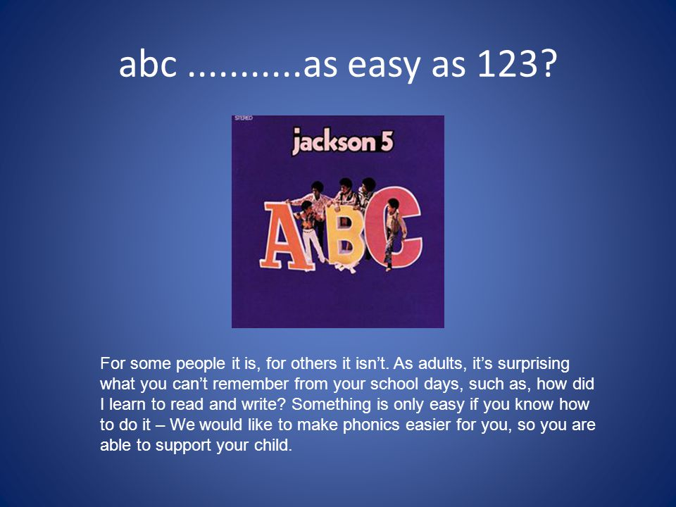 abc ...........as easy as 123