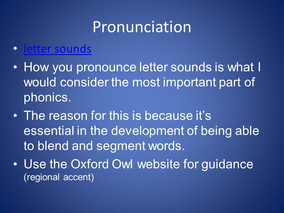 Pronunciation letter sounds