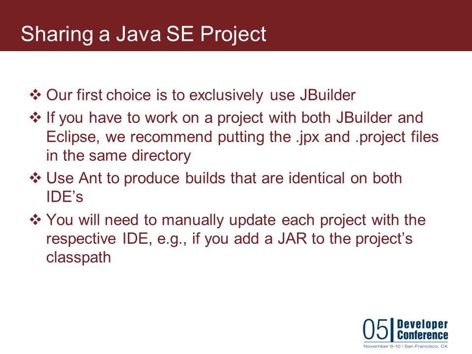 Sharing a Java SE Project