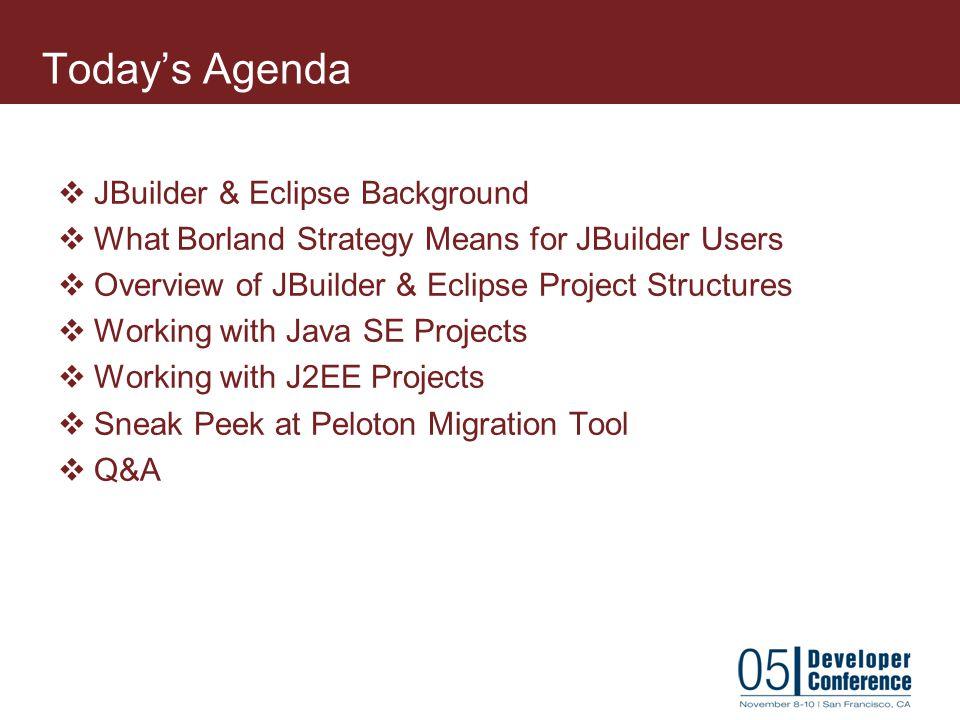 Today's Agenda JBuilder & Eclipse Background