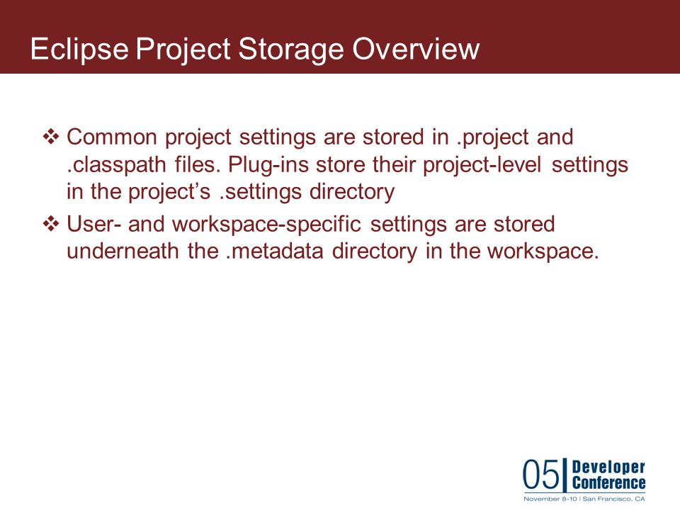 Eclipse Project Storage Overview