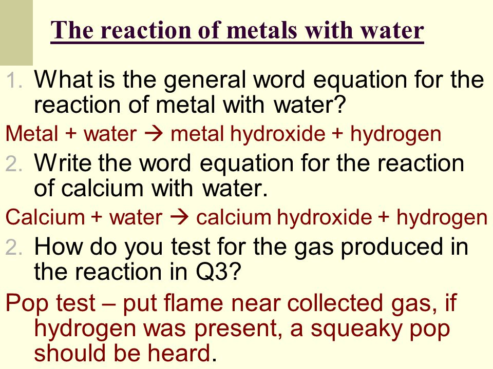 The reaction of metals with water