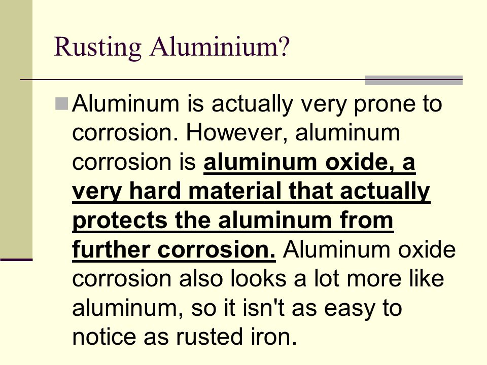 Rusting Aluminium