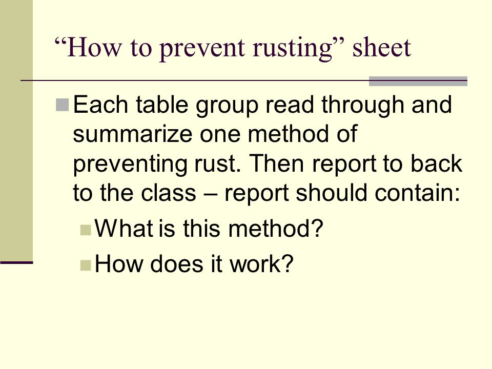 How to prevent rusting sheet