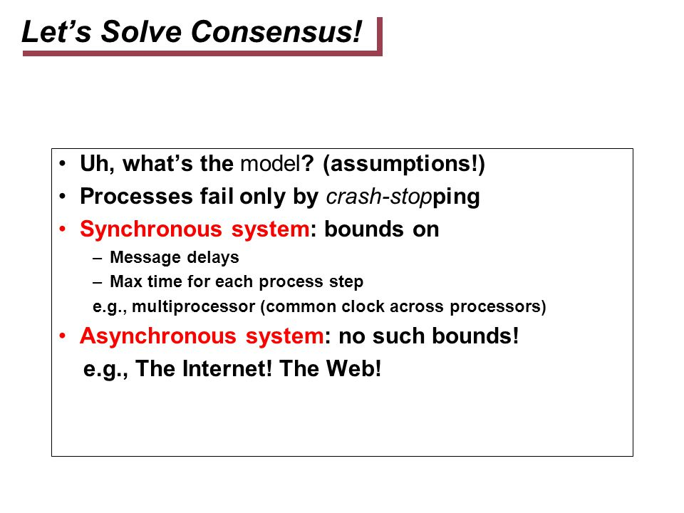 Let's Solve Consensus! Uh, what's the model (assumptions!)