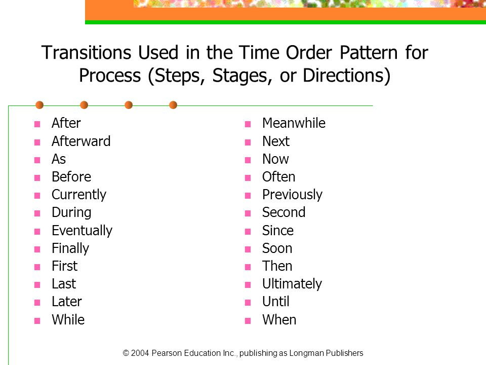 Transitions Used in the Time Order Pattern for Process (Steps, Stages, or Directions)