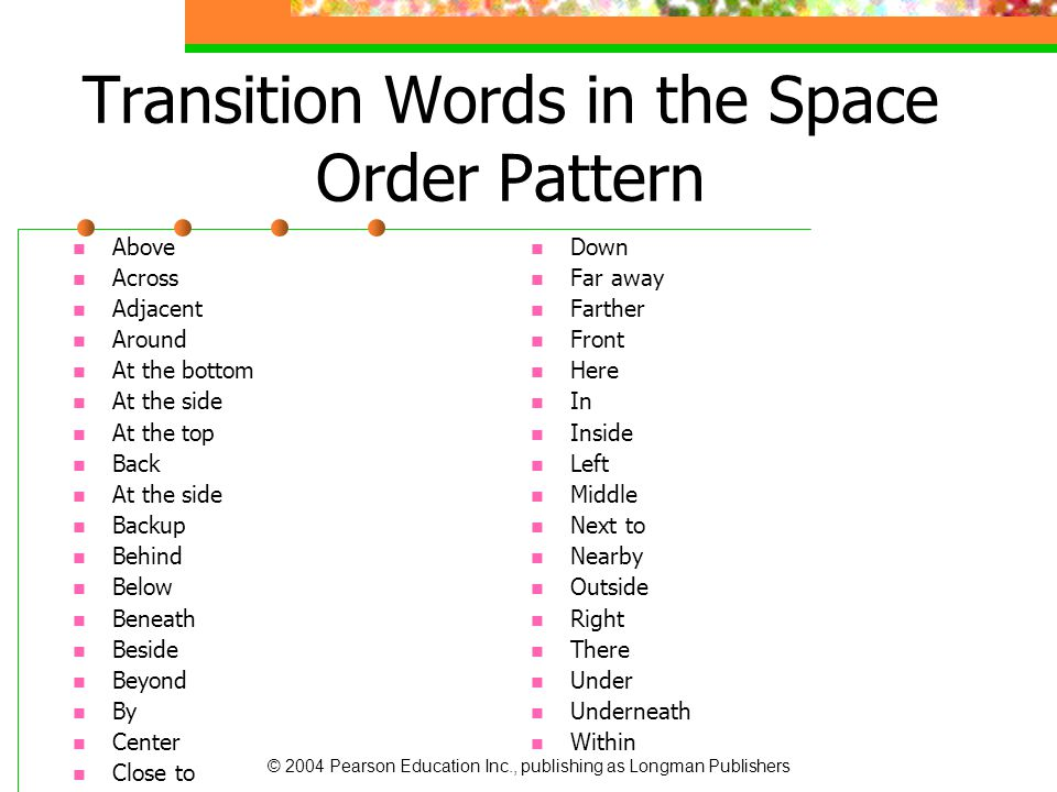 Transition Words in the Space Order Pattern