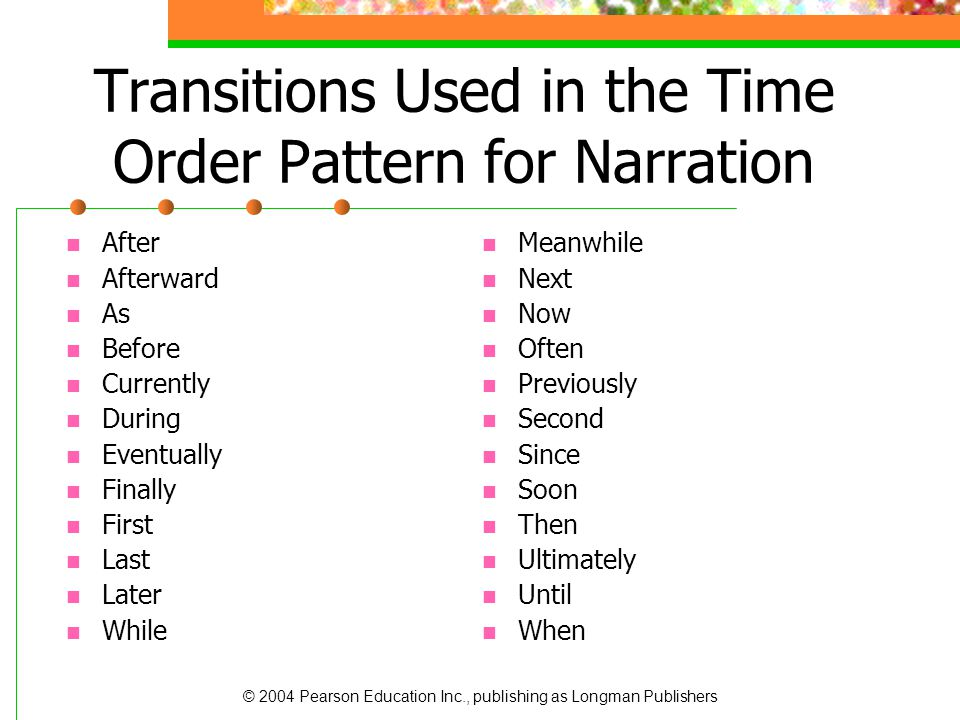 Transitions Used in the Time Order Pattern for Narration