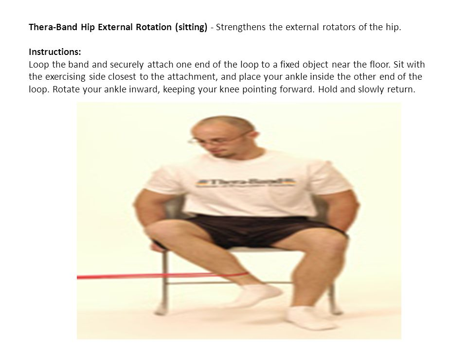 Thera-Band Hip External Rotation (sitting) - Strengthens the external rotators of the hip.