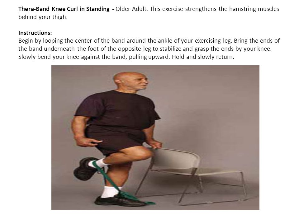 Thera-Band Knee Curl in Standing - Older Adult
