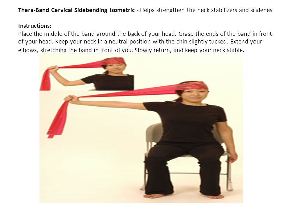 Thera-Band Cervical Sidebending Isometric - Helps strengthen the neck stabilizers and scalenes Instructions: Place the middle of the band around the back of your head.
