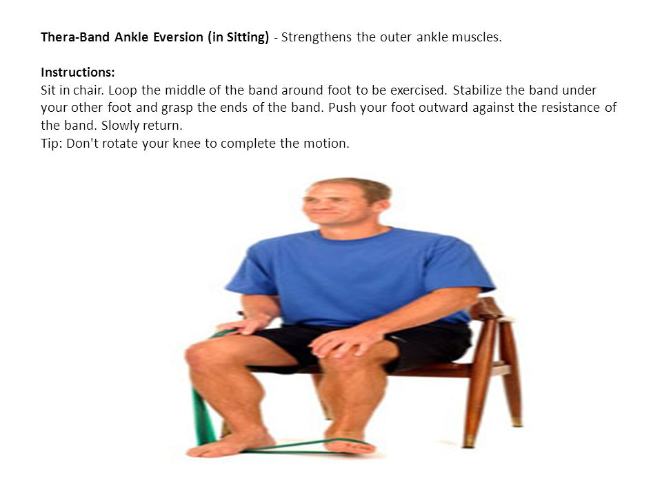 Thera-Band Ankle Eversion (in Sitting) - Strengthens the outer ankle muscles.