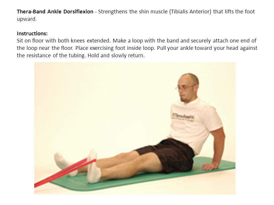 Thera-Band Ankle Dorsiflexion - Strengthens the shin muscle (Tibialis Anterior) that lifts the foot upward.