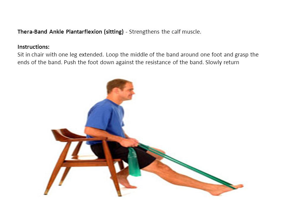 Thera-Band Ankle Plantarflexion (sitting) - Strengthens the calf muscle.