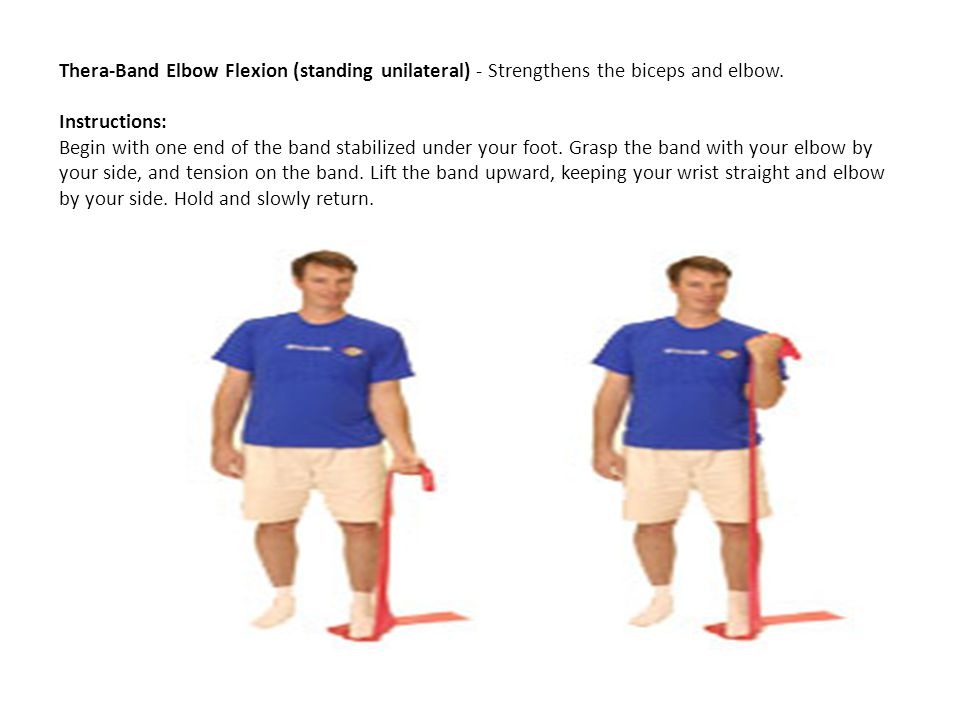 Thera-Band Elbow Flexion (standing unilateral) - Strengthens the biceps and elbow.